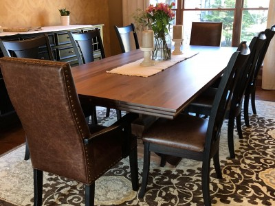 Natural Walnut Table with Reverse Ogee Edge and Silverton Base